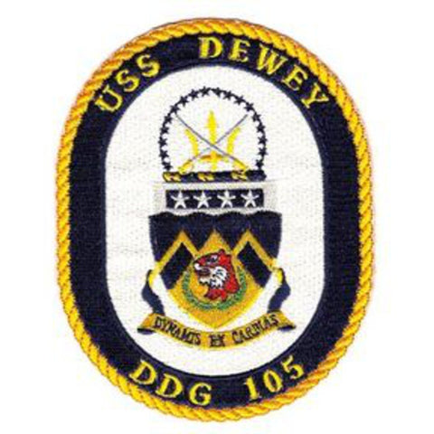 DDG-105 USS Dewey Guided Missile Destroyer Ship Crest Patch