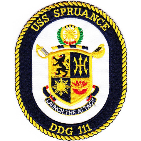 DDG-111 USS Spruance Guided Missile Destroyer Ship Crest Patch