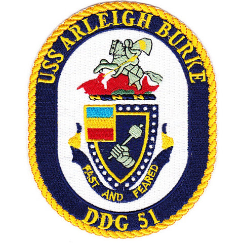 DDG-51 USS Arleigh Burke Guided Missile Destroyer Ship Crest Patch