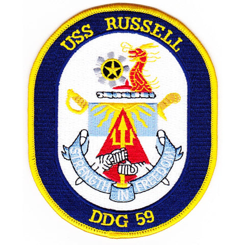 DDG-59 USS Oscar Russell Guided Missile Destroyer Ship Crest Patch