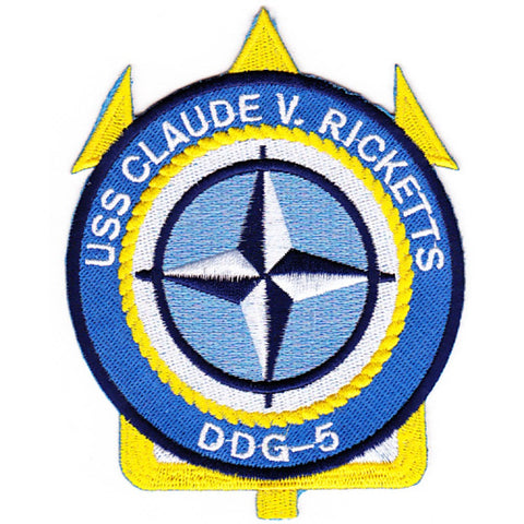 DDG-5 USS Claude V Ricketts Guided Missile Destroyer Ship Patch