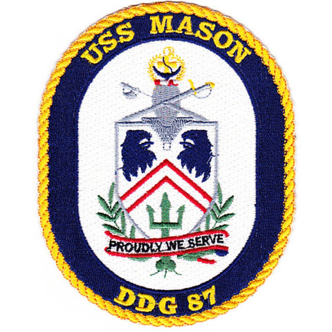 DDG-87 USS Mason Guided Missile Destroyer Ship Crest Patch