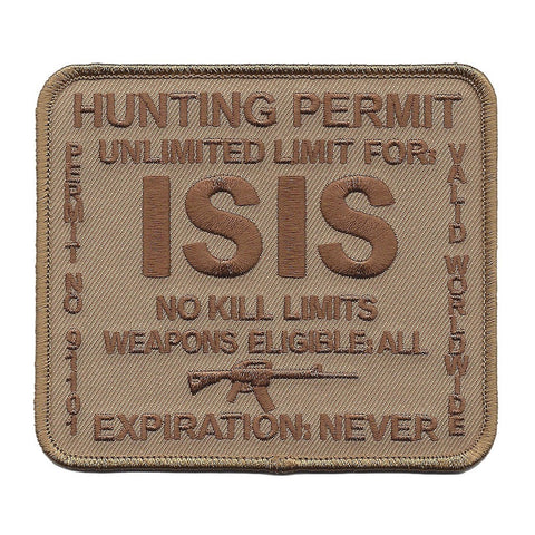 ISIS Hunting Permit Military Patch