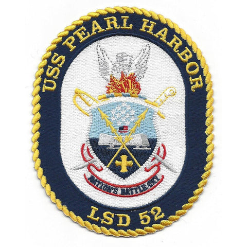 LSD-52 USS Pearl Harbor Dock Landing Ship Crest Patch - Nations Battle Cry
