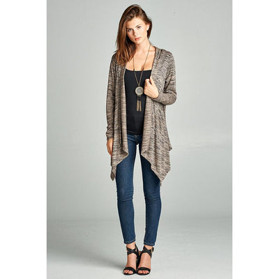 Asymmetric Cardigan Sweater Hoodie with Pockets - Kim's Fashions