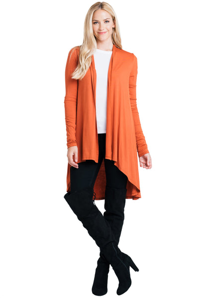 Bamboo Solid Color Open Front Cardigan - Kim's Fashions