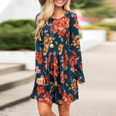 Floral Dress Plus Size Midi Dress - Kim's Fashions