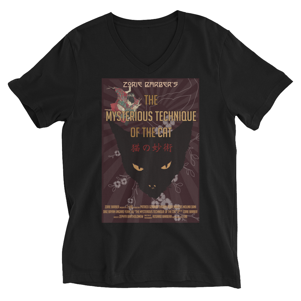The Mysterious Technique of the Cat Unisex Short Sleeve V-Neck T-Shirt