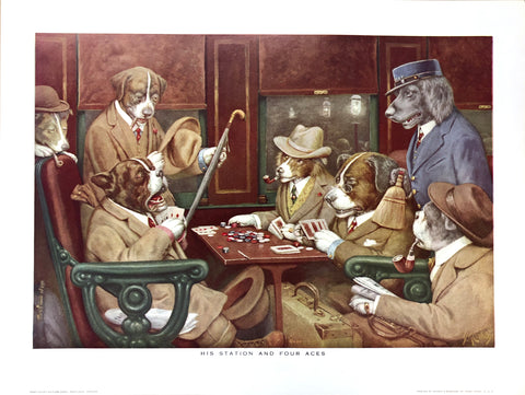 Dogs Playing Poker - His station and four aces - Marcellus Coolidge Art Print - 12x16 - West Coast Picture Frames LLC
