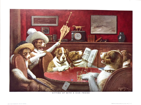 Dogs Playing Poker - Sitting up with a sick friend - Marcellus Coolidge Art Print - 12x16 - West Coast Picture Frames LLC