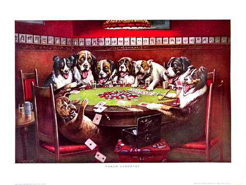 Dogs Playing Poker - Poker sympathy - Marcellus Coolidge Art Print - 12x16 - West Coast Picture Frames LLC
