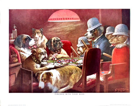 Dogs Playing Poker - Pinched with four aces - Marcellus Coolidge Art Print - 12x16 - West Coast Picture Frames LLC