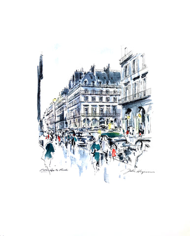John Haymson Art Print - Paris, Rue de Rivioli - 17x21 - West Coast Picture Frames LLC