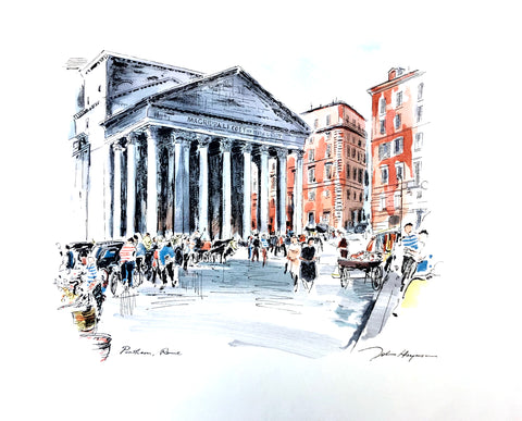 John Haymson Art Print - Pantheon, Rome - 17x21 - West Coast Picture Frames LLC