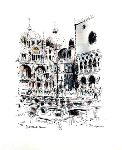 John Haymson Art Print -  St. Mark's, Venice - 17x21 - West Coast Picture Frames LLC