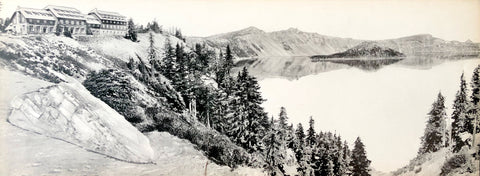 Crater Lake National Historical Vintage Photo (houses) - Fred Kiser -  8x20 - West Coast Picture Frames LLC