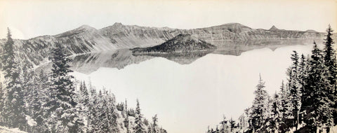Crater Lake National Historical Vintage Photo (trees) - Fred Kiser - 8x20 - West Coast Picture Frames LLC