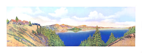 Crater Lake National Historical Vintage Photo (color) - Fred Kiser - 8x20 - West Coast Picture Frames LLC
