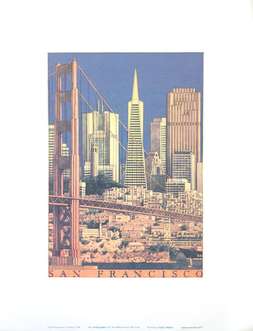 San Francisco Skyline - Craig S. Holmes Art Print - 13x17 - West Coast Picture Frames LLC