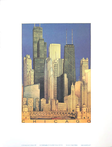 Chicago Skyline - Craig S. Holmes Art Print - 13x17 - West Coast Picture Frames LLC