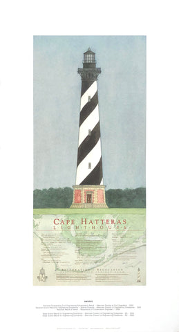 Cape Hatteras Lighthouse - Manteo (NC) - E. Michael Beard Art Print - 13x25 - West Coast Picture Frames LLC