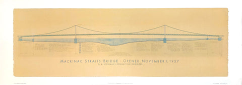 Mackinac Straits Bridge rendering - Michigan - Craig S. Holmes Art Print - 13x38 - West Coast Picture Frames LLC