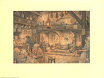 In the pub - Anton Pieck 1960 Art Print - 9x12 - West Coast Picture Frames LLC