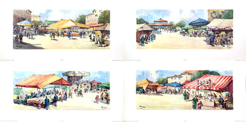 The country fair scene - A. Marc by Stehli Freres - Serie 1143 - 4 art prints - 25x12.5 - West Coast Picture Frames LLC