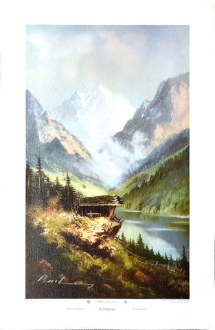 Lake in Bavaria - A village scene by Hans Bachmann - 25.5x15.5 - West Coast Picture Frames LLC