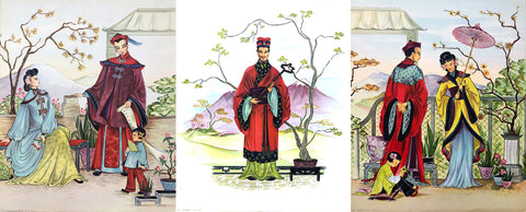 Set of Vintage Asian Color Lithography Art Prints by Goes - 1940s - West Coast Picture Frames LLC