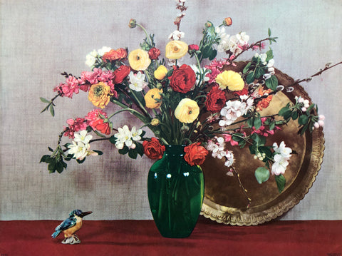 Still life Bird Bouquet Art Print from 1945 by Goes - 12x16 - West Coast Picture Frames LLC