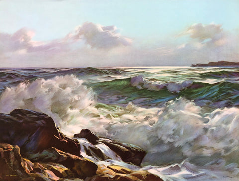 Foaming Waters Art Print by Alphonse Joseph Shelton – 1960s – 12x16 - West Coast Picture Frames LLC