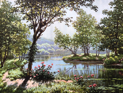 River landscape Art Print by René Charles Edmond His – Trees – 12x16 - West Coast Picture Frames LLC