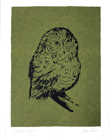 Owl by Jim Eichelberger Serigraphy - Mrs. Hoot - Art Print - 14x11 - West Coast Picture Frames LLC