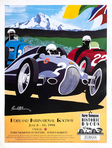 Portland International Raceway Illustration Poster by Randell F. Swann - 1994 - West Coast Picture Frames LLC