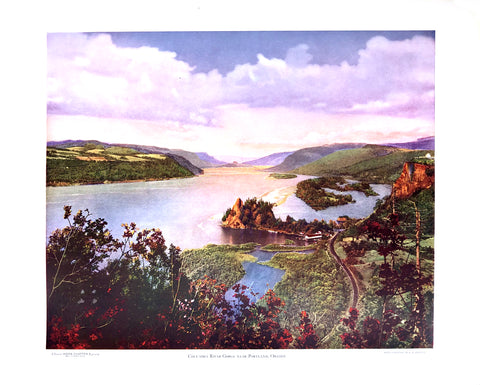 Columbia River Gorge near Portland vintage picture - 1940s - West Coast Picture Frames LLC