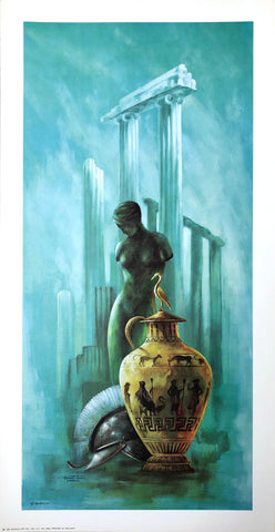Vintage greek lithograph by Frans Van Lamsweerde - front statue - 24x12 - West Coast Picture Frames LLC