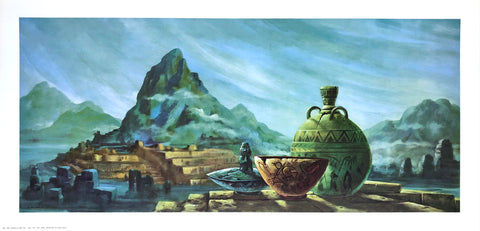 Vintage greek lithograph by Frans Van Lamsweerde - mountain - 24x12 - West Coast Picture Frames LLC