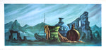 Vintage greek lithograph by Frans Van Lamsweerde - boat - 24x12 - West Coast Picture Frames LLC