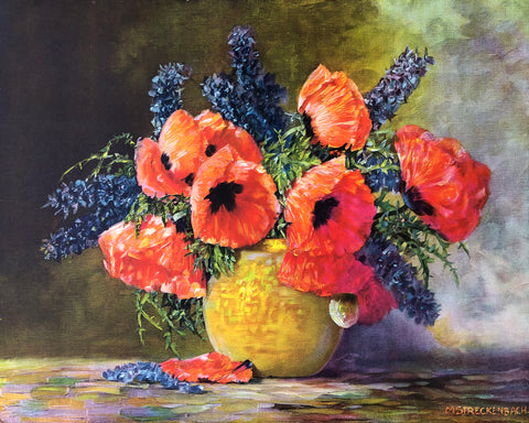 Max Streckenbach Vintage Art Print - Poppies & Larks Pur - 20x16 - West Coast Picture Frames LLC