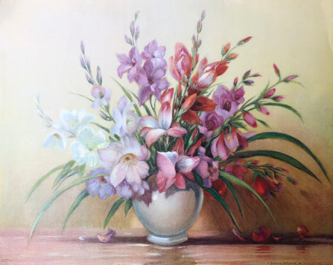 Vintage Gustave Wiegano Art Print - Flowers in a vase - 20x16 - West Coast Picture Frames LLC