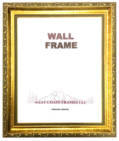 Wood Picture Frame - Gold Ornate with Glass - 9115