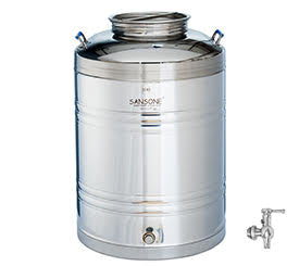 Sansone Welded Stainless Steel Fusti with Spigot -- 100 liter