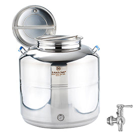 Sansone Welded Stainless Steel Fusti with Spigot -- 50 liter