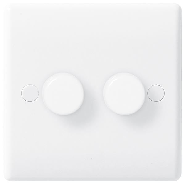 White Moulded Slimline 2 Gang 2 Way Push Dimmer
