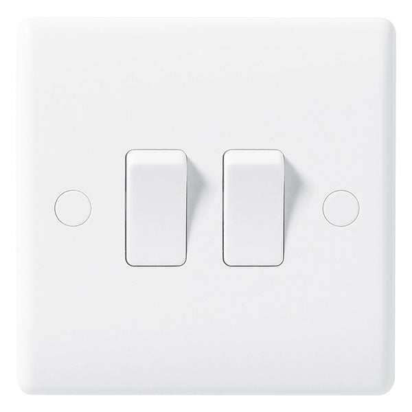 White Moulded Slimline 2 Gang 2 Way Switch 10A