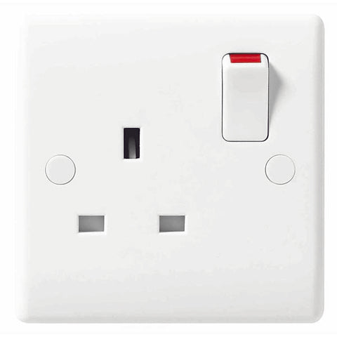 White Moulded Slimline 13A 1 Gang Switched Socket