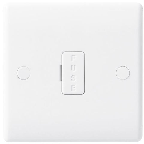 White Moulded Slimline 13A Unswitched Fused Spur