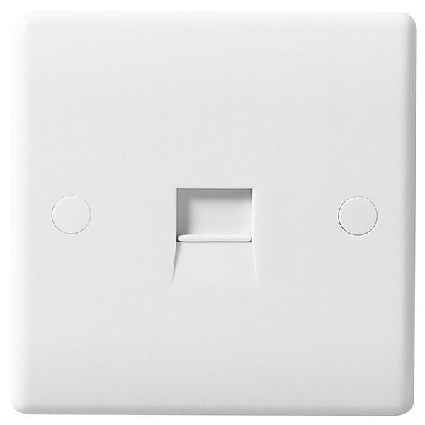 White Moulded Slimline 1 Gang Master Telephone Socket