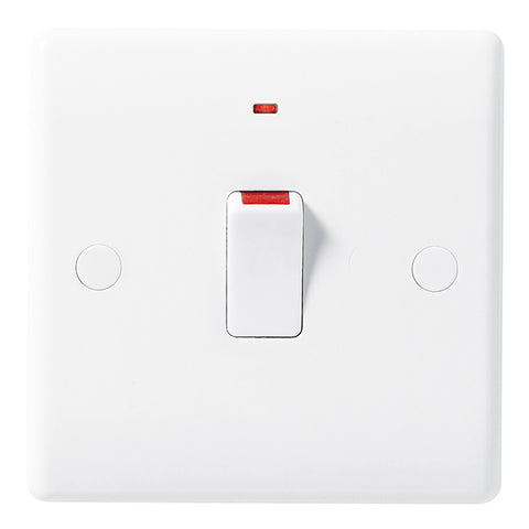 White Moulded Slimline 20A Double Pole Switch with Neon
